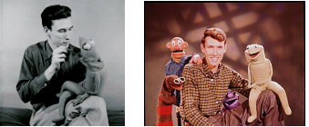 Jim Henson with early version of Kermit the frog