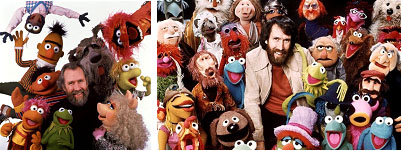 Jim Henson surrounded by all the puppets he created