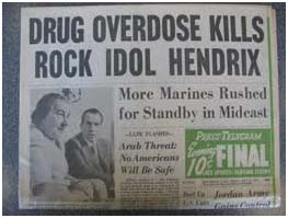 news paper report of jimi hendrix's death