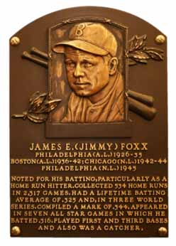 Jimmy Foxx Hall Of Fame Plaque