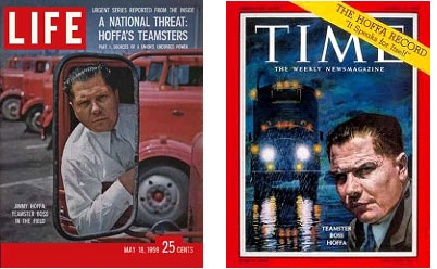 Jimmy Hoffa on the cover of Life and Time magazines