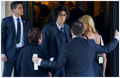 Howard Stern at her funeral
