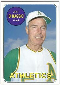 Joe DiMaggio coaching for the oakland a's