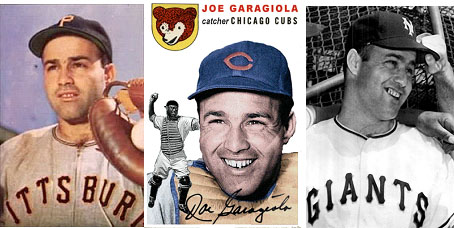 Joe Garagiola baseball cards on Pirates, Cubs, and Giants