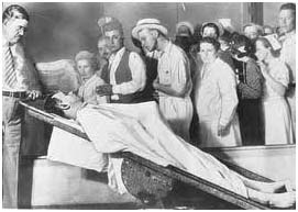 John Dillinger's body on public display at the Cook County Morgue