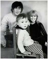John Lennon with wife, Cynthia and son, Julian