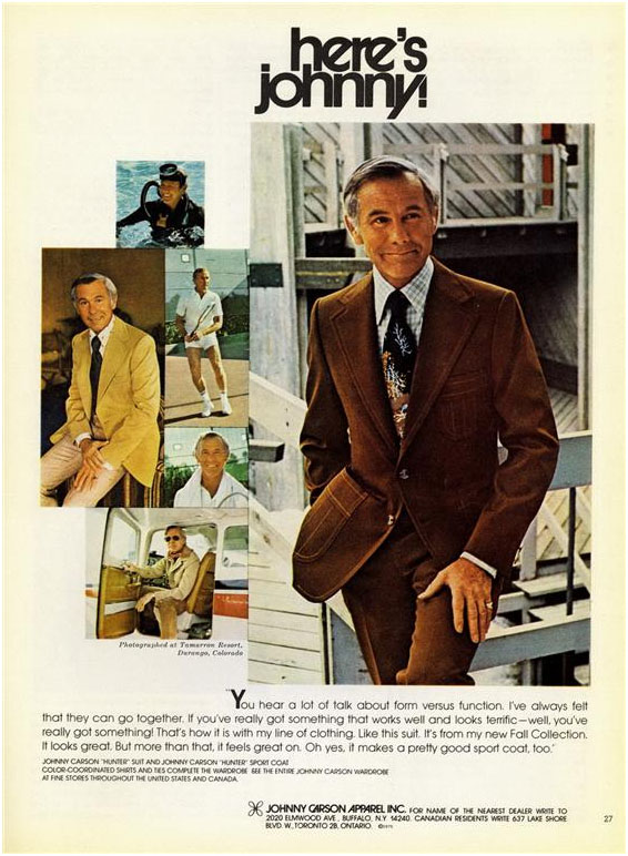 Johnny Carson apparel advertisement