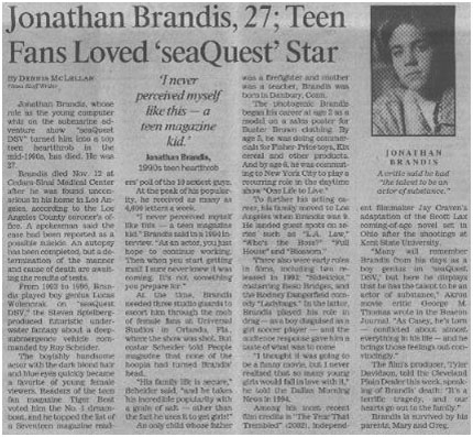 Jonathan Brandis newspaper report of his death