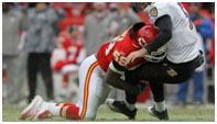 Jovan Belcher playing for the Chiefs
