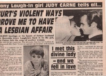 newspaper report of Judy Carne and Burt Reynolds failed marriage