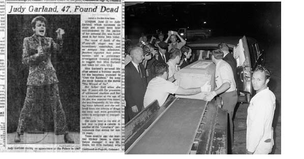 Judy Garland newspaper report of death and her casket being put into a hurst