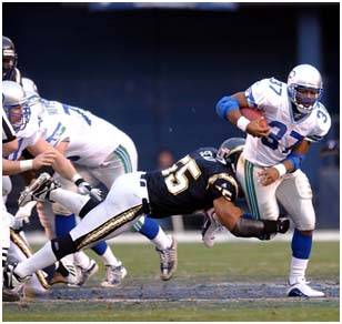 Junior Seau playing for the charger