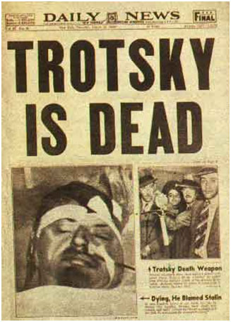 Leon Trotsky death reported on the cover of the ny daily news