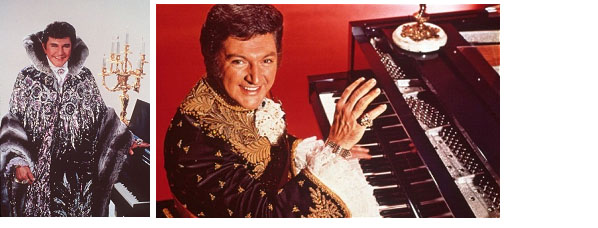 Liberace wearing his flashy costumes