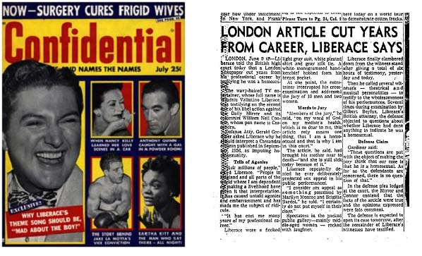 Liberace appearing in 2 different publications