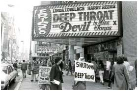 people protesting Deep Throat in front of a movie theater