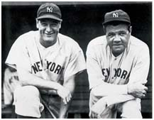Lou Gehrig with Babe Ruth