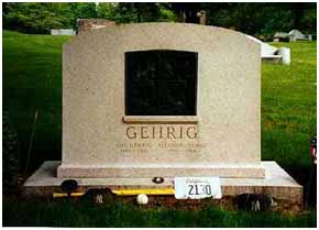 Lou Gehrig's burial place at Kensico Cemetery in Valhalla, New York