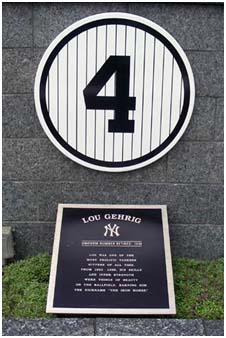 Lou Gehrig's retired number at Yankee Stadium