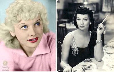 Lucille Ball as a blond and a brunette