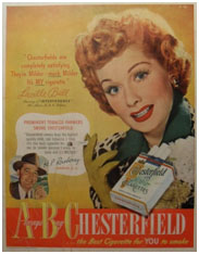 Lucille Ball chesterfield ciggarrette ad
