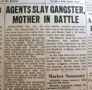nespaper report of Ma Barker death