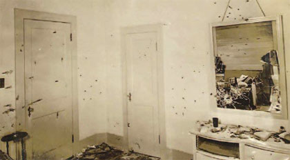 bullet holes in Ma Barker house after shootout with police