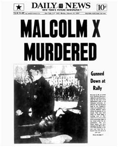 Malcolm X Daily news report of his death