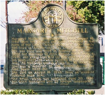 Margaret Mitchell plaque on her childhood home