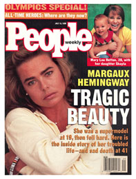 Margaux hemingway on the cover of people magazine after she died