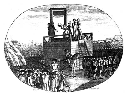 drawing of Marie Antoinette under the guillotine