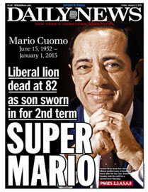 Newspaper report of Mario Cuomo's death