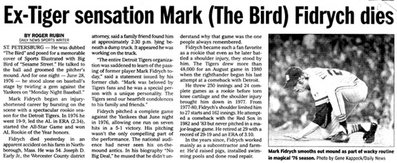newspaper clipping reporting Mark Fidrych' death