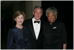 Maya Angelou with George Bush and the First Lady
