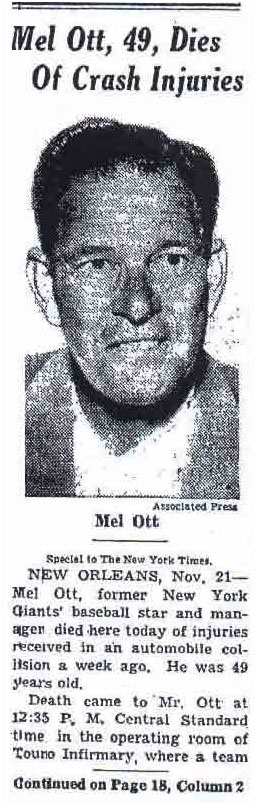 Mel Ott death reported in the newspaper