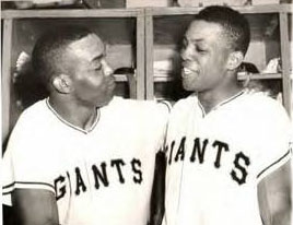 Monte Irvin with Willie Mays