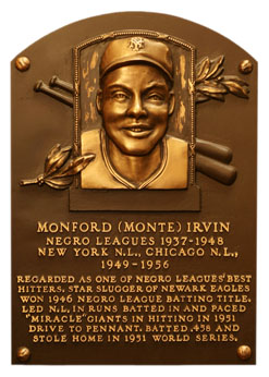 Monte Irvin Hall Of Fame plaque