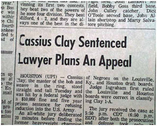 newspaper report of Muhammad Ali conviction and sentancing
