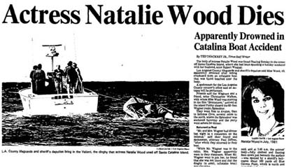 Natalie Wood newspaper report on her death