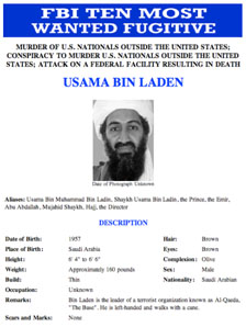 Osama Bin Laden on FBI most wanted list poster