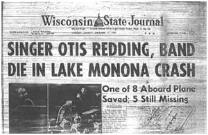 Nespaper report of otis Redding's death