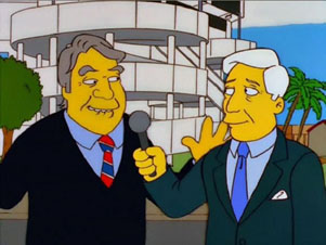 Pat Summerall and John Madden in an episode of The Simpsons
