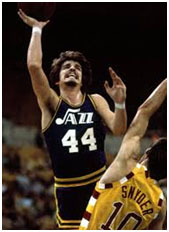 Pete Maravich playing for the Jazz