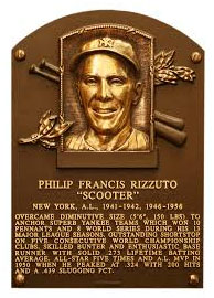 Phil Rizzuto hall Of Fame plaque