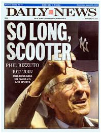 Phil Rizzuto death on the cover of NY Daily News