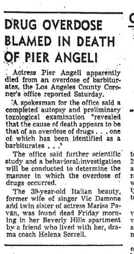 newspaper report of Pier Angeli death