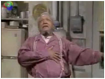 Redd Foxx holding his heart on Sanford and Son