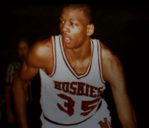 Reggie Lewis playing college basketball
