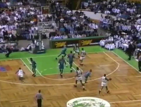 Reggie Lewis on floor during a playoff game