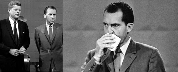 Richard Nixon and JFK in the 1960 presidential debate on television
